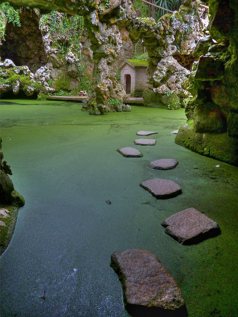 visitheworld:  Lago da Cascata at Quinta da Regaleira in Sintra, Portugal (by Phil Blackburn).