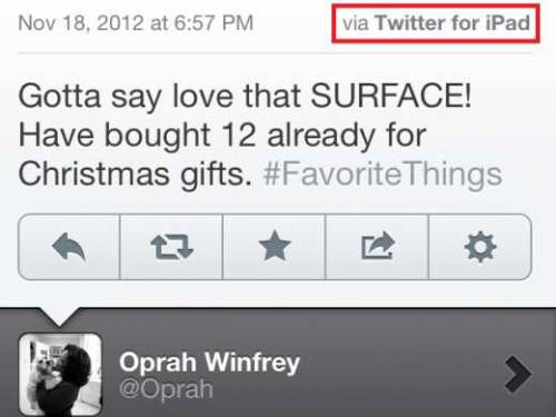 Oprah loves Microsoft's Surface tablet so much that she tweets its praises from her iPad all the time