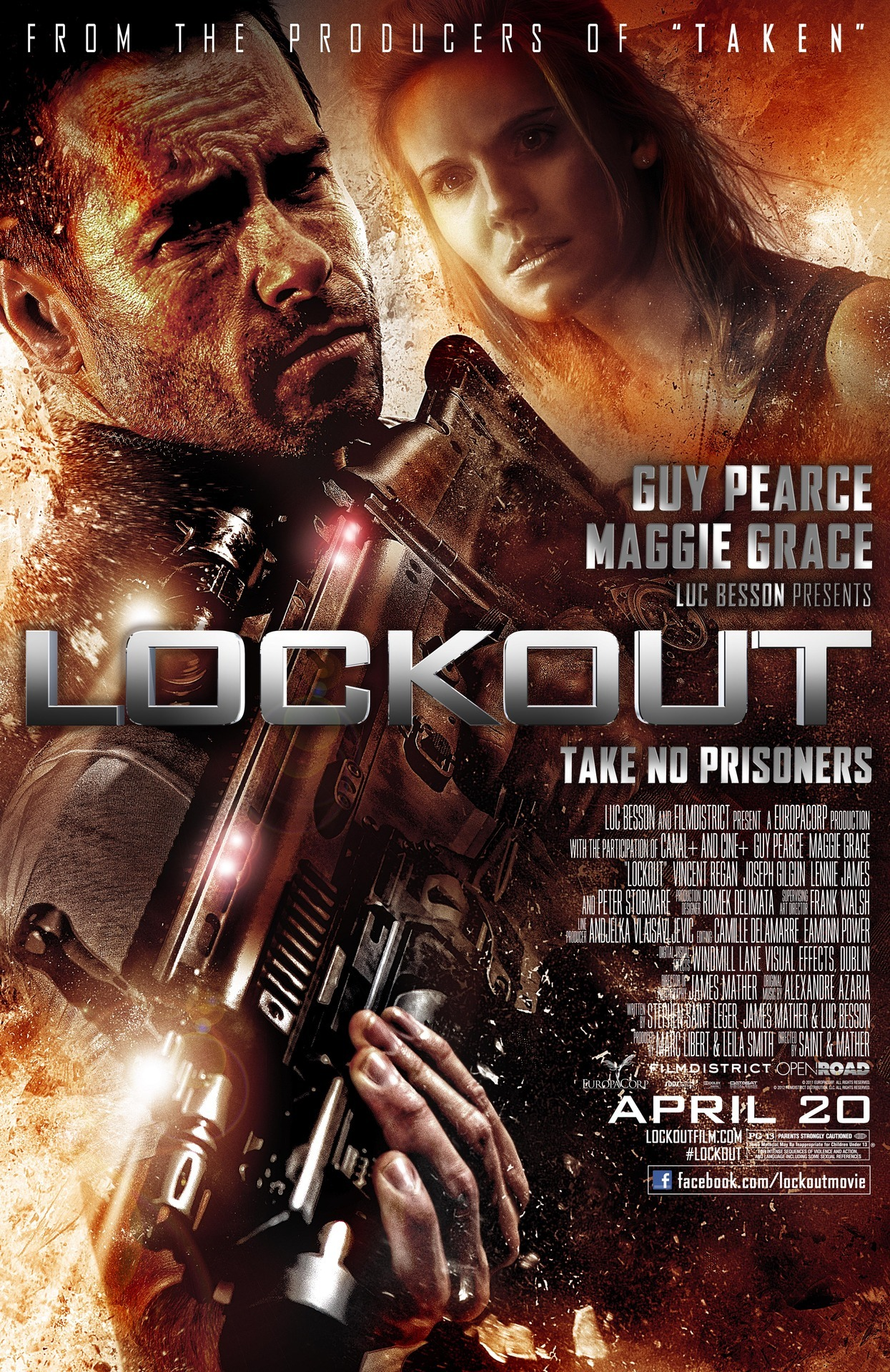 Lockout I missed this when it first came out in theatres, and didn't miss much. I think it has some good elements, but you can really just see them throwing all these things, like a wise-cracking anti-hero, and bantery relationship and crazy villians. It is sort of just the cut scenes from a video game.