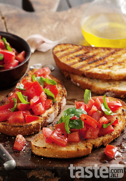 Enjoy the fresh flavours of this Italian classic tomato and basil bruschetta. (Recipe by Claire Brookman; Photography by Jeremy Simons)