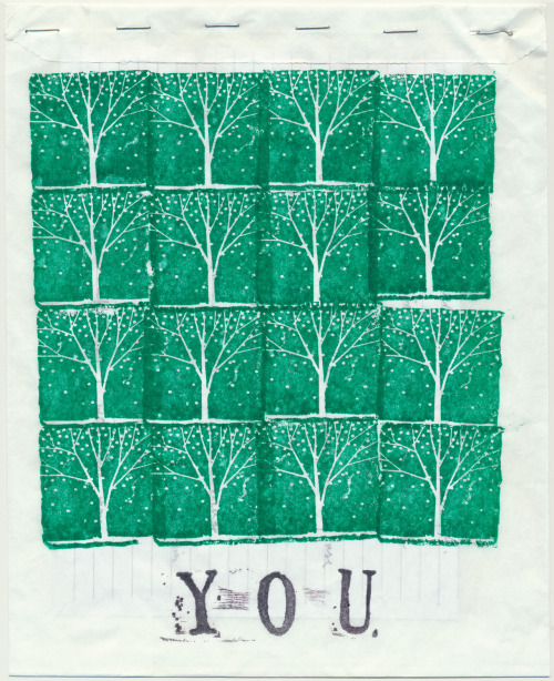 A recent edition of YOU, a publication I know very little about that regularly shows up in the Free area at Quimby's Books in Chicago. This edition is a rubber stamped, thin paper bag that contains a story by Viv printed on both sides of a single sheet (I read it by carefully prying open the bottom of the bag). More of YOU here.