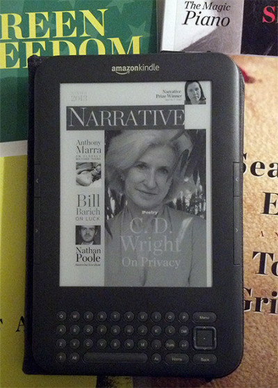"C. D. Wright reads well on kindle. And the new narrativemag features Wright writing ""On Privacy."""