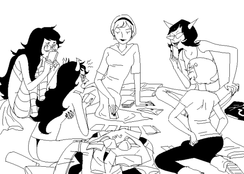 kathysbrotherssister:  some girls playing strip poker vriska tried to cheat and wore a shit ton of clothes and still ended up taking them all off roxy is just taking off clothes because she wants to