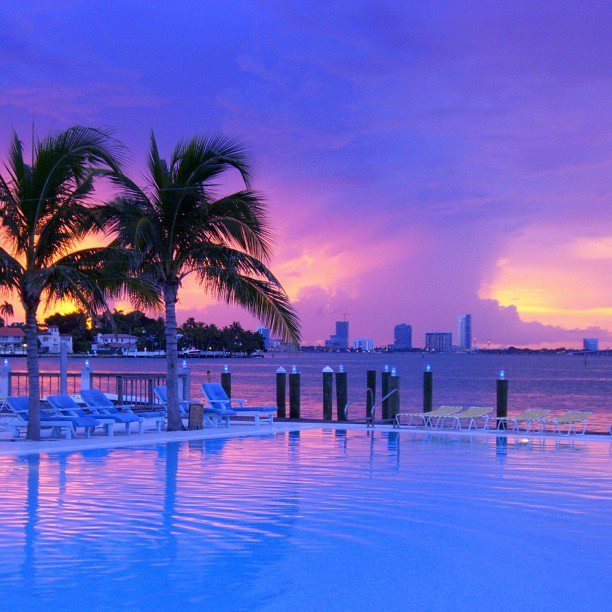 Purple sunset at The Standard Spa, Miami Beach. Photo by Ben Stilleto.