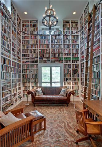 home library (via Wednesday House Sampler | Old House Dreams)