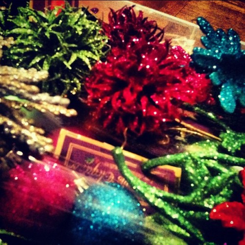 They're coming out!!!! #christmas #xmas #decorations #glitter #colorful