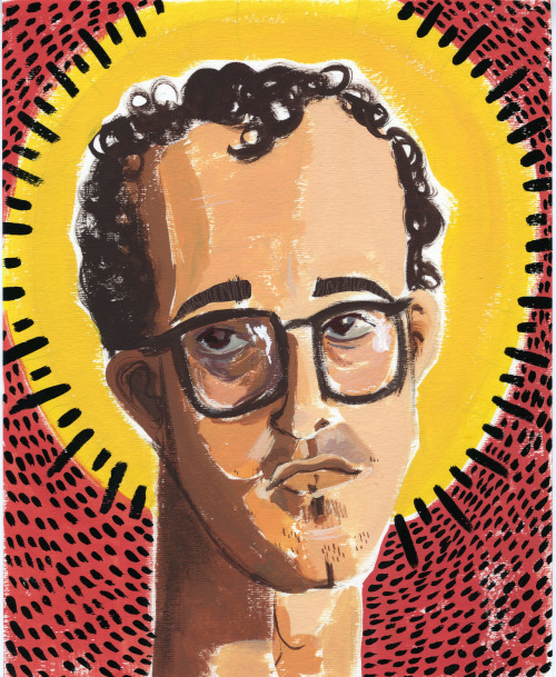 "cbaillustration:  squarecarousel:  Challenge 24: Dinner Guests— Keith Haring In college, I wrote a paper on Keith Haring's spiritual, yet non-religious, work, and really felt, for the first time, that I found a person who had the same beliefs and viewpoint towards life. Haring was a lovely, giving person who loved children and felt they, and their love, represented the purest thing on earth.  After he lost his battle with AIDS, this quote was found in his journal: ""Touching people's lives in a positive way is as close as I can get to an idea of religion."" I would definitely have Keith Haring at my dinner party, to discuss all sorts of wonderful philosophical and spiritual things.  And to thank him for being such an inspiration! Caitlin  ""Keith Haring,"" Gouache, 2012.My latest challenge for Square Carousel! Tried something new (or old, actually since I used to paint a lot of portraits back in the day). It was a good exercise for me to try painting more naturalistically, yet with my normal technique. I would definitely like to keep trying this, because I felt a little rusty and stiff. The final result isn't too shabby, though."