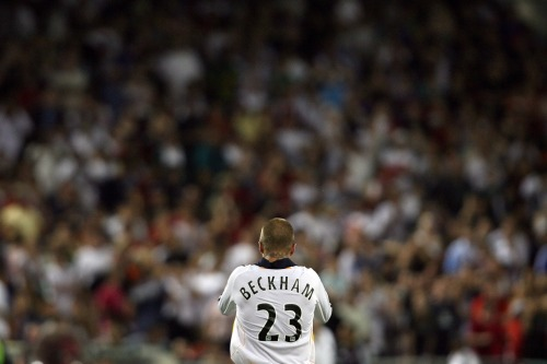 kylesheldon:  A photo from David Beckham's debut on August 10, 2007 in front of 46,686 at RFK Stadium. The best part of all? D.C. United won 1-0 thanks to Luciano Emilio, who would go on to win MLS MVP.  Photo by Getty Images.   Beckham's final game with the Galaxy will be over five years on from this date, the 2012 MLS Cup final on December 1st.