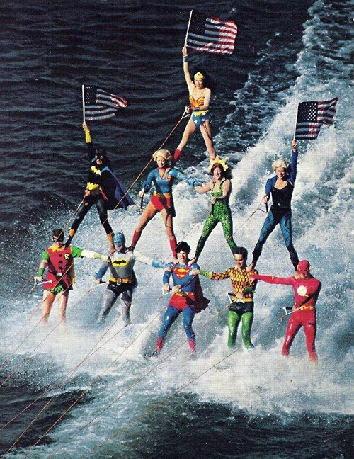 rio6:  Superheros on water skis.
