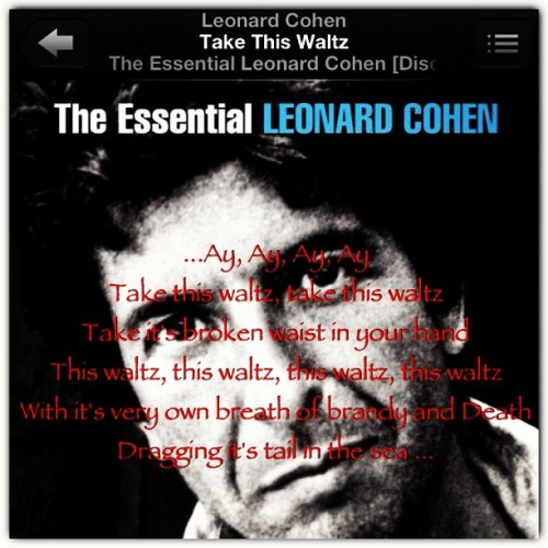 I've had this song stuck in my head since Friday. Lucky me… #leonardcohen #takethiswaltz #musictoslityourwristto