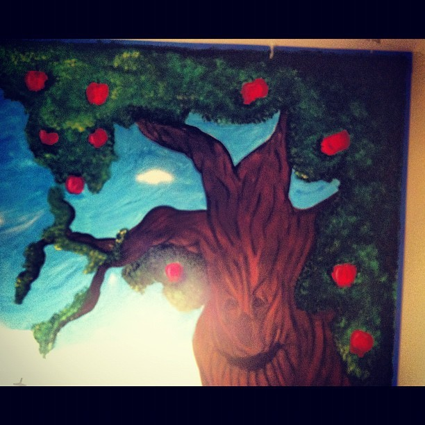 #mural #carascreations #myart #wallart #paint #acrylic #oz #wizardofoz #apple #appletree #orchard #trees #art #children #babyroom #nursery
