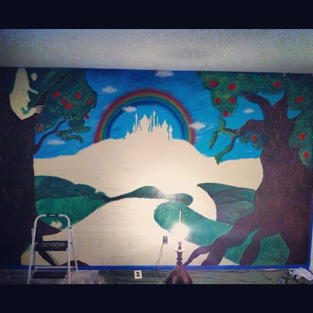 #mural #carascreations #myart #wallart #paint #acrylic #oz #wizardofoz #apple #appletree #orchard #trees #art #children #babyroom #nursery #progress #mymuralart
