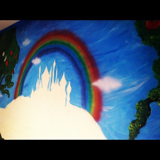 #mural #carascreations #myart #wallart #paint #acrylic #oz #wizardofoz #apple #appletree #orchard #trees #art #children #babyroom #nursery #rainbow