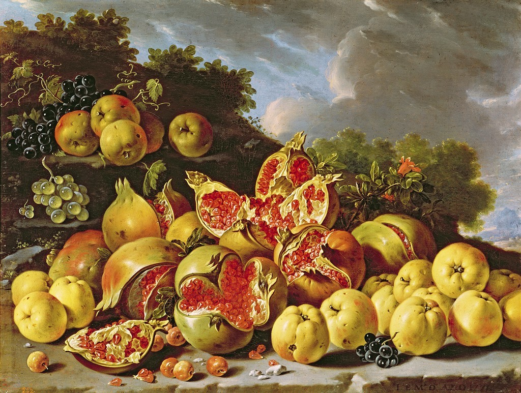 Luis Egidio Melendez (Spanish, 1716-1780), Still Life with Pomegranates, Apples, Azaroles and Grapes in a Landscape, 1771, Prado, Madrid