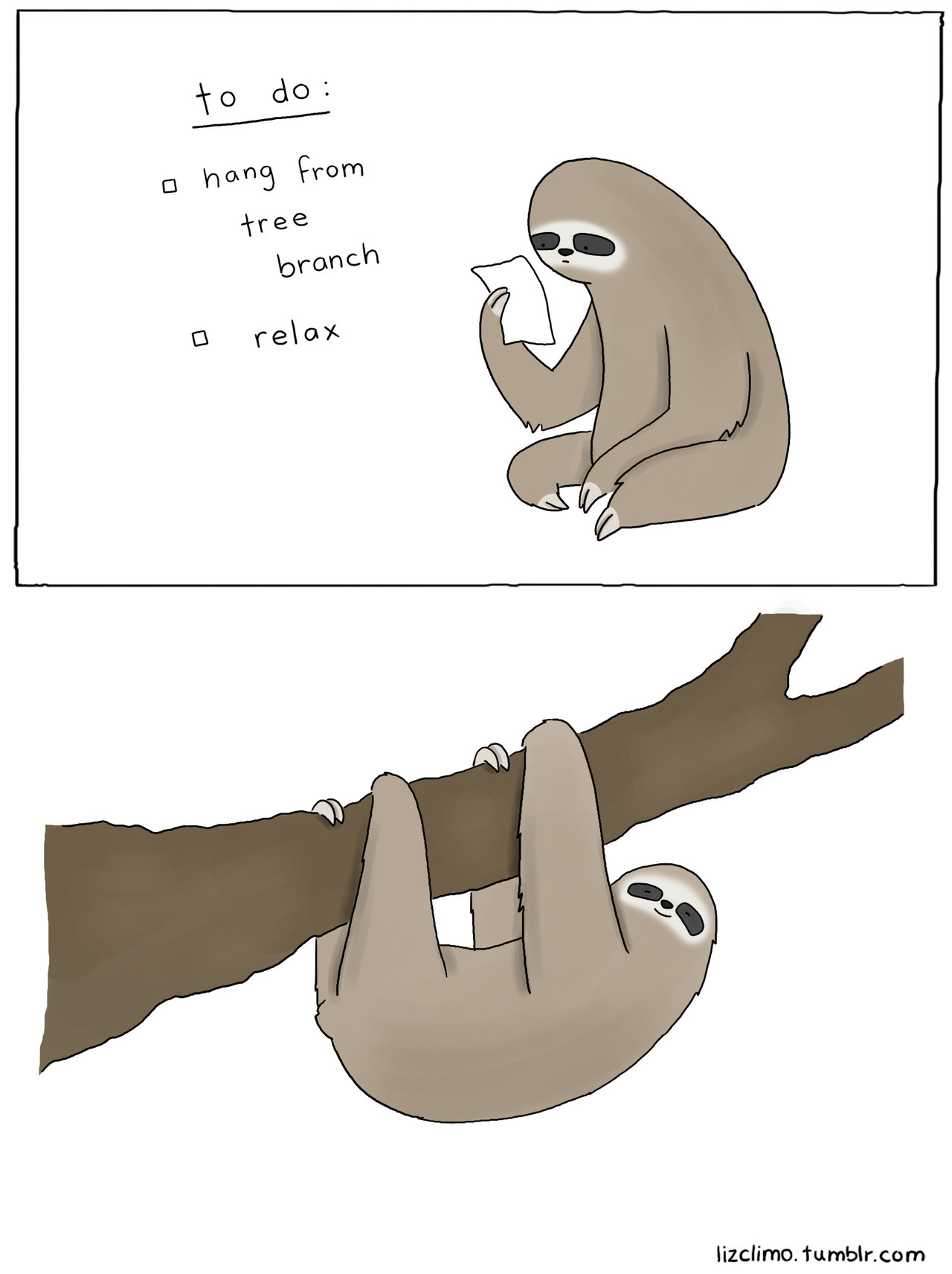 sloth to-do list