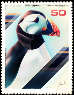 A Puffin.  (It kind of looks great on a stamp). by Felipevsky