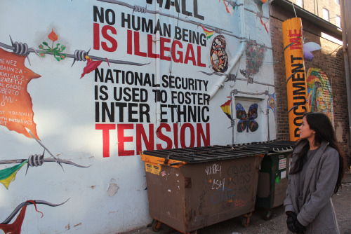 "tranqualizer:  [photo: a mural in Chicago reads, ""no human being is illegal. national security is used to foster inter ethnic tension."" there is surrounding artwork that includes butterflies and flowers resting on barbed wire that is also draped at some points with torn flags.] sharonlittletomato:  Found this mural walking around Chicago."