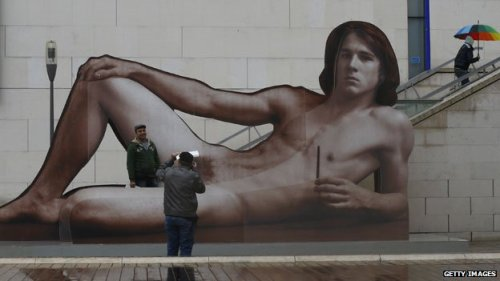 "wildcat2030:  An exhibition in Vienna probes our attitude towards nudity - people in the West have become accustomed to the naked female form, but male nudes can still shock. Before the show opened, the museum even covered up parts of its own posters, saying they had caused public outrage. Five naked male statues on a pedestal confront you as you enter the new exhibition at the Leopold Museum. The earliest is Ancient Egyptian, and the most recent a figure based on a shopping mannequin. Tobias Natter, the director of the Leopold Museum, says the opening display is a ""walk through 500 years of history"". ""You have an old Egyptian nude, which is very unusual for Egyptian art, you have Roman art, you have Rodin from the 19th and 20th Century, to a postmodern statue. It tells the visitor the male nude in art has a very long tradition,"" he says. (via BBC News - The shock of the (male) nude)  Finally."