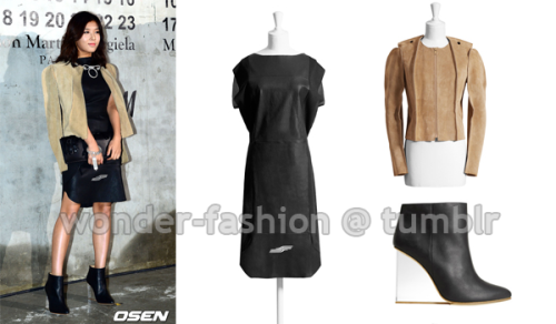 Maison Martin Margiela with H&M, Car seat cover dress $349 via H&M Maison Martin Margiela with H&M, Suede jacket $299 via H&M Maison Martin Margiela with H&M, Plexi ankle wedge $349 via H&M