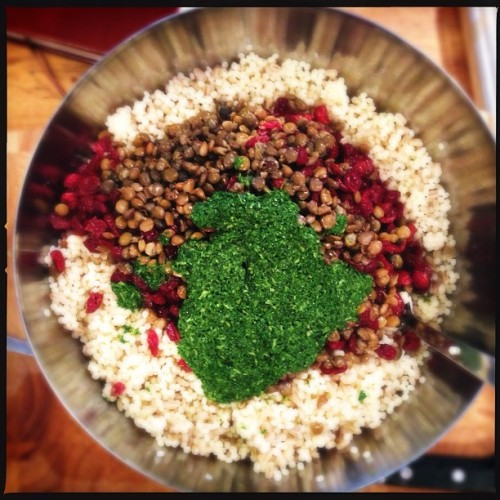 Work in progress! Israeli pearl couscous, pearl barley, lentils, cranberries, goats cheese and a mint vinaigrette. #yum (at Barlow & Fields)