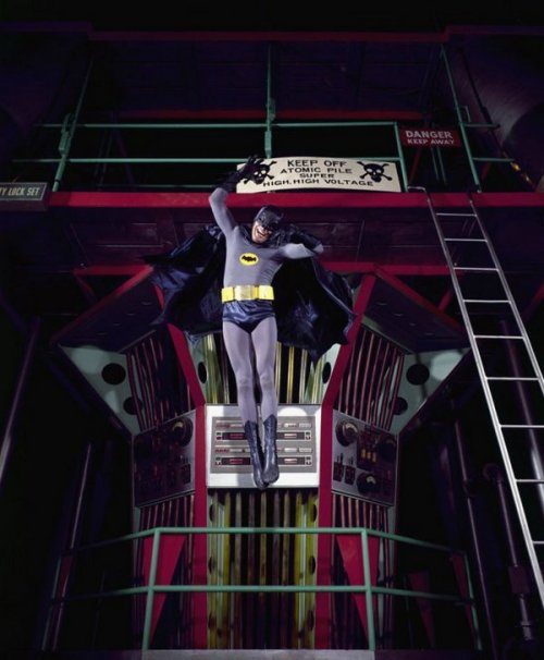 theswinginsixties:  Adam West on the set of Batman, 1966. Photo by Yale Joel.