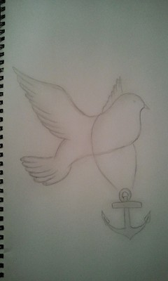 My Drawing :D an Anchor of hope but can also represent holding on to nothing and hoping for change aswell as being held down rather than flying (being happy).