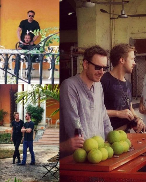Michael Fassbender & Ryan Gosling bromancing in Mexico on Terrence Malick's movie set. Hot!