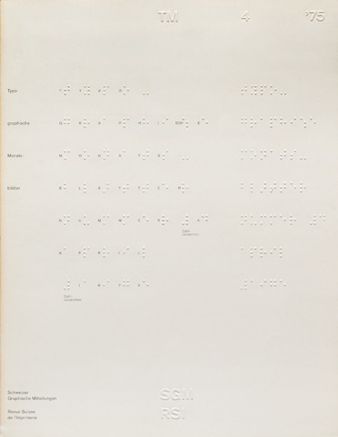 TM Issue 4 cover design by Heinrich Fleischhacker using the braille writing system (1975).