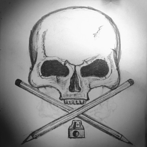 • Illustration •  Skull sketch for the front cover of my sketchbook, chucked in a few pencils for cross-bones. Oh yes. ;) … Totally doesn't look like a chipmunk skull haha