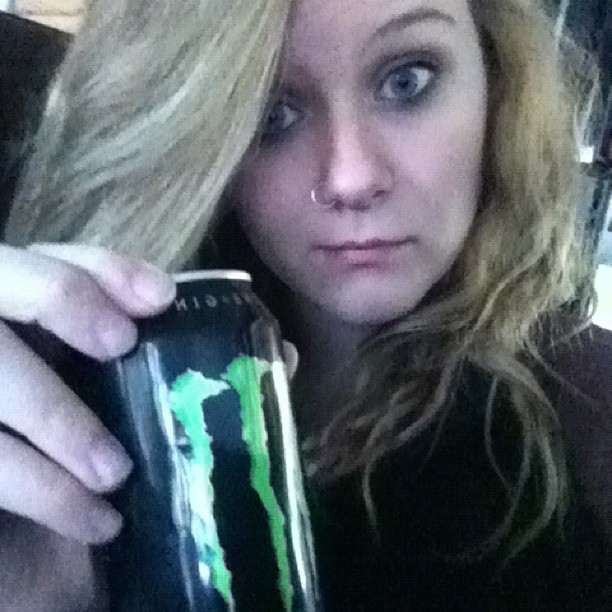 Monster and bedhead. It's going to be one of those days #iamthewalkingdead #nosleep #stillhavetofinishapplyingtocollege #goingtofallasleepstandingup #ihaveworkagainallnight