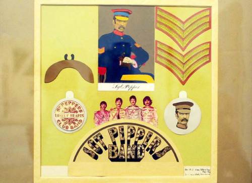 The original artwork by Peter Blake for the insert for the Sgt. Pepper album was sold at auction at Sotheby's in London this week for £55,000. To my knowledge, this is the only piece of Peter Blake artwork for the Sgt. Pepper album that has ever surfaced. Gorgeous.