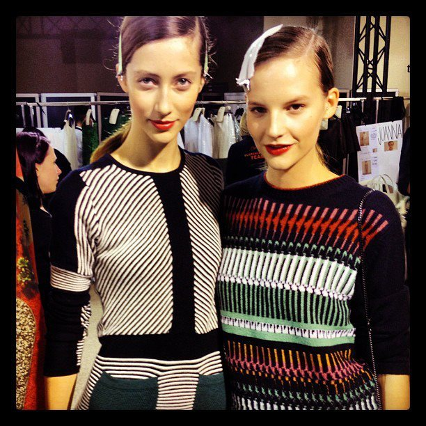 Alana Zimmer to the left wearing a Henrik Vibskov Rib Dress. /Apocalypse Mjau
