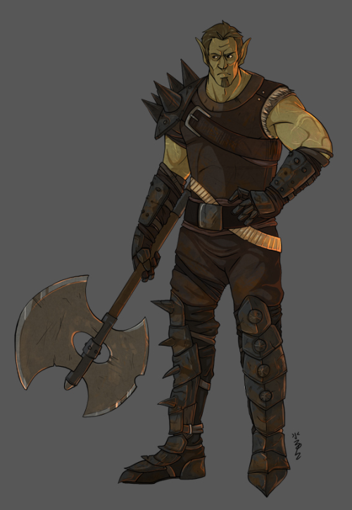 Hrafn, Half-orc Fighter! Character build by Kyle Larson, designed by me~