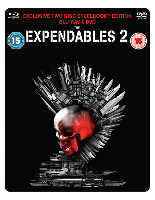 We are very happy to unveil the hmv exclusive steelbook for The Expendables 2.We know some of you have been asking to see it and we're pleased we can now share it with you.The Expendables 2 will be out on hmv exclusive blu-ray steelbook, standard edition blu-ray & DVD December 10th.