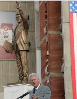 What's a statue of Bill Clinton doing in Kosovo? And he isn't alone. JFK's likeness can be spotted in Cameroon while statues of Lincoln are scattered all over Mexico. There's even a George W. Bush in Albania. Check 8 proud, albeit random, replicas of U.S. presidents abroad.Pictured — Bill Clinton speaks in front of his statue in Pristina, Kosovo, on Nov. 1, 2009. Photo: REUTERS/Hazir Reka