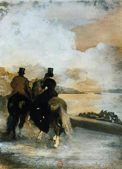 "windypoplarsroom:  Edgar Degas ""Two Riders by a Lake"""