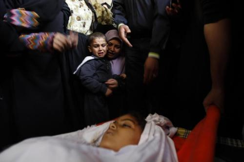 "unicef:  ""This must stop."" On 19 November, mourners attend the burial of Tasneem Al Nahel, 13, in Gaza City, occupied Palestinian territory. She was killed the previous day by shrapnel during an Israeli air strike. Among the mourners is Tasneem's 5-year-old brother. ""This must stop,"" said United Nations Secretary-General Ban ki-Moon. To read more about the Israeli-Palestinian situation and how UNICEF is involved, please visit: http://www.unicef.org/protection/57929_66405.html © UNICEF/NYHQ2012-1524/Iyad El Baba"