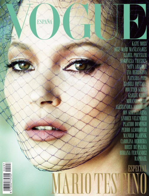 Kate Moss covers Vogue Spain December 2012 Photographer: Mario Testino, of course.