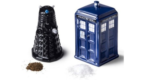 Doctor Who: Salt and Pepper Shakers A TARDIS for your salt, a Dalek for your pepper… and they'll spice up the life of your favorite Doctor Who fan — if you can deal with them reenacting episodes during dinner.Price:  $17.98 Read more: Holiday Gift Guide 2012: TV Merchandise