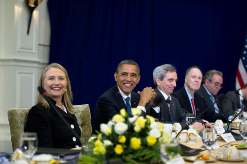 U.S. President Barack Obama and U.S. Secretary of State Hillary Rodham Clinton meet with Japanese Prime Minister Yoshihiko Noda for a bilateral meeting during the East Asia Summit at the Peace Palace in Phnom Penh, Cambodia, November 20, 2012. President Obama is the first U.S. President to visit Cambodia. [State Department photo by William Ng/ Public Domain]