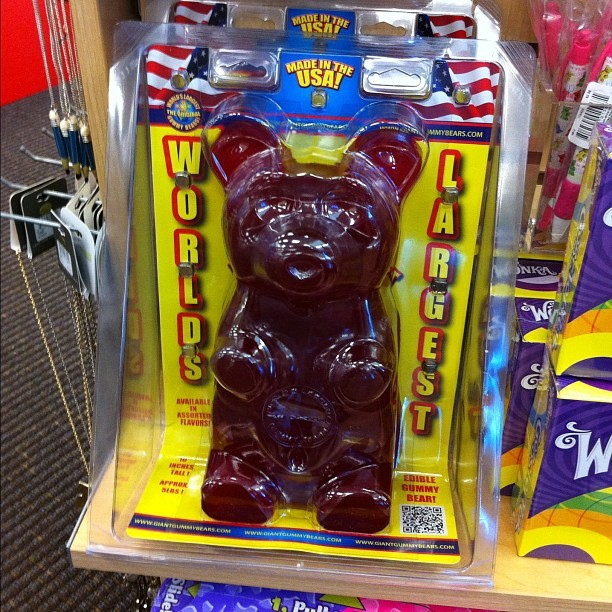 World's largest gummy bear #photos #tuesday #omg #gummy #candy #fatass #gross Can you imagine going back and finishing a half eaten giant gummy bear? #vomit