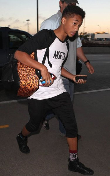 Jaden Smith about to catch a flight at LAX on Monday