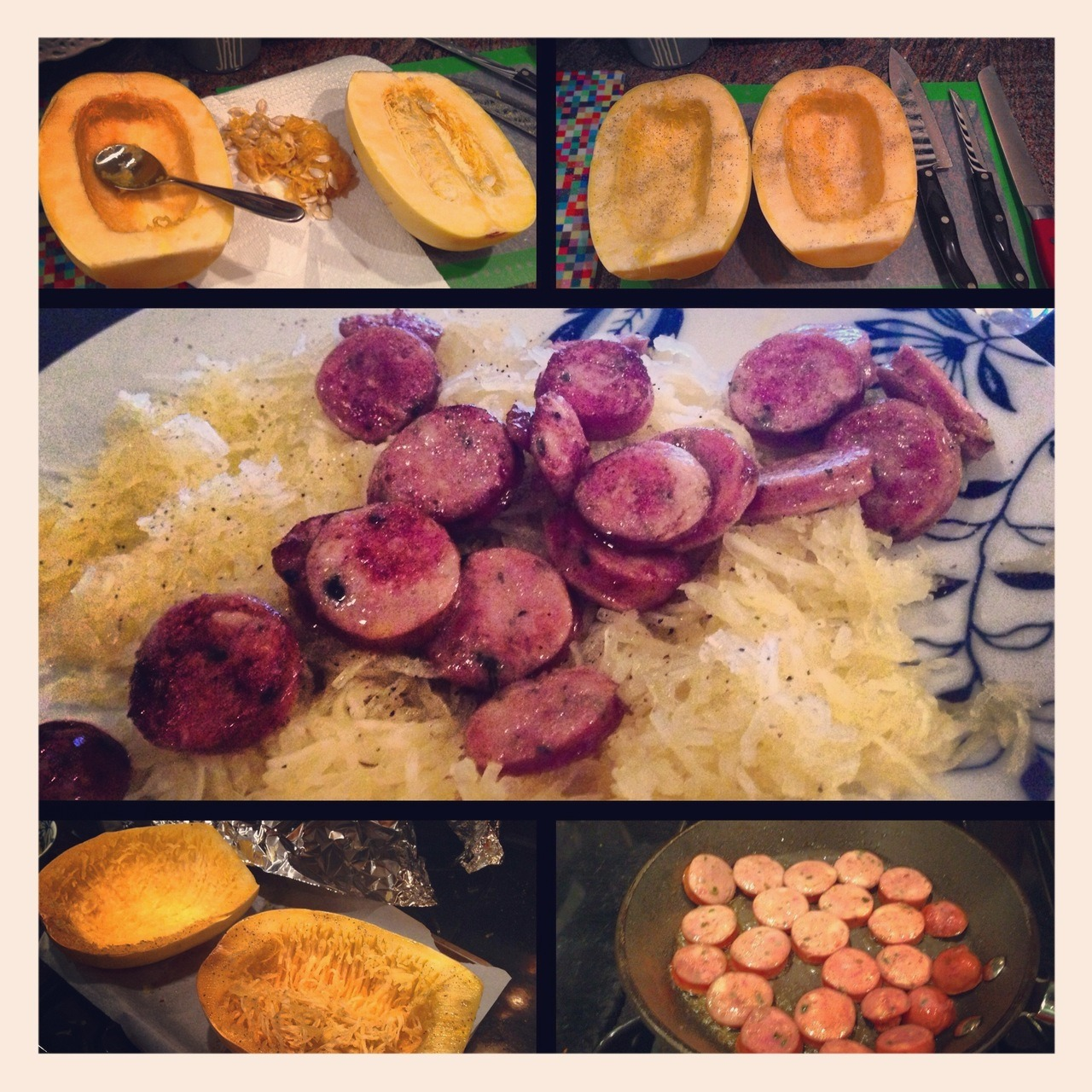 Adventures with Spaghetti Squash! Last night I bought a spaghetti squash for the very first time.  I've been wanting to try them for a while now and just decided to bite the bullet.   First off….just cutting it was a feat!  It took three different knives to get through it (see the picture on the top right!).  But I finally got it split in half and the seeds taken out.  I did not like this part at all…I had carving pumpkins and this was all too similar to pumpkin carving.  Yuck.  I got it all seasoned and flipped upside down on the pan. Covered it in tin foil like the recipe suggested and baked it at 375.  The recipe I was following said to bake it for 30-40 minutes.  I pulled the squash out at 35 minutes and it was nowhere near being done.  I ended up baking it for another 15 minutes but it probably needed 20.   While the squash was cooling I cut up some Italian chicken sausage and pan fried it with a little bit of olive oil.  I didn't have any meat with lunch and I was really feeling it so I had two links instead of the usual one.  I love the Open Nature chicken sausages. If you haven't tried them yet, you totally should.  The bottom left picture was mid scraping.  I didn't wait for it to cool enough which was a big mistake. I ended up burning my fingers!  But my stomach was a' rumblin.  To serve, I just sprayed the squash with a little bit more olive oil and sprinkled on a bit more salt and pepper. Then I topped it with the sausage! It was SO GOOD!  I will definitely be making this again!  It was filling but not super heavy but really full of flavor.  I'm a big fan.  Also, the meal was 10PP.  If I had done just one chicken link it would have been a measly 6PP! Awesome! So there you go….spaghetti squash.  Love it!