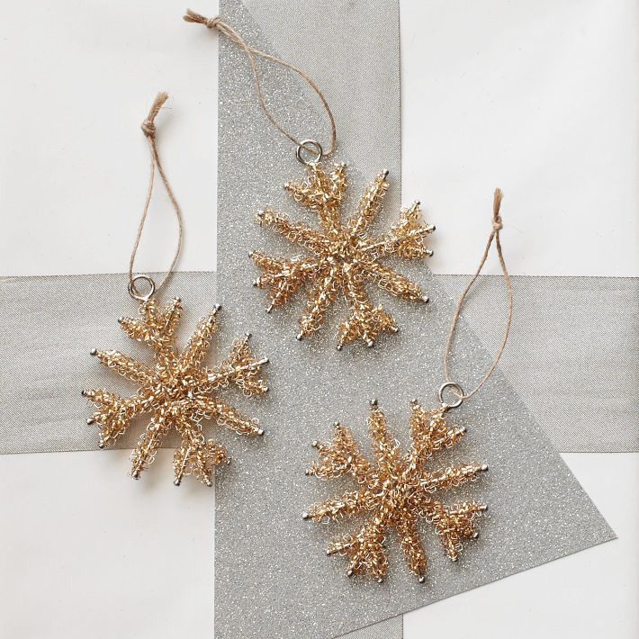 [Tinsel Snowflake Ornament Set by West Elm]