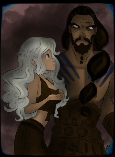 Daenerys Targaryen and Khal Drogo, by me Barbysand. ;) Drawing on iPad and using Procreate.