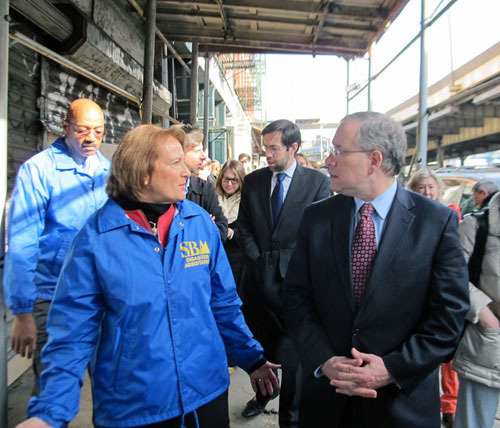 Visiting South Street Seaport Businesses: Lower Manhattan businesses need our help. This morning I toured the South Street Seaport area with Rep. Jerry Nadler, Assembly Speaker Sheldon Silver, US Small Business Administration Administrator Karen Mills, SBS Commissioner Walsh, local elected officials, and community leaders. The business owners I've talked to say they need assistance recovering from Hurricane Sandy, and the federal SBA, New York State, New York City, and the Downtown Alliance are stepping up with support.