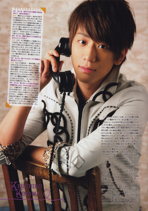 "fuckyeahkoyama:  Potato 12.2012 - NEWS moshi moshi? 4. If you could have a phone call from whoever you'd like, who would it be?  Myself when I was 5. I wanna know what was in my mind back then. Kids are extremely cute, aren't they? When you're 5 you start thinking a lot and you talk so much. That's why I'd like to call myself and ask many questions like ""What do you like to do? Are you interested in something? What do you want to do when you'll be older?"". I wonder what I thought!  (c)"