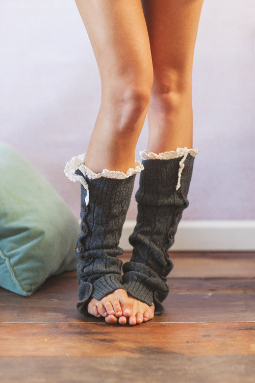 Smoke Gray Lacy Knitted Button Down Leg Warmers Boot Cuffs (LWK1) with Crochet Trim Button Up LegWarmers