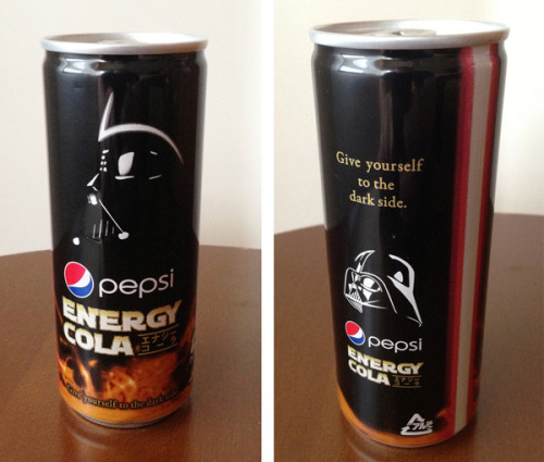 Drink up the Dark Side with Pepsi Darth Vader Energy Cola If it tastes anything at all like Coke Blak, I'll take a hundred cases. It's apparently hard to come by, and it's only available in Japan, so good luck finding it. Via