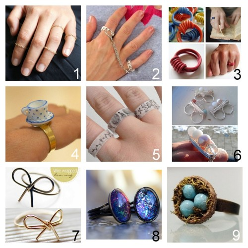 True Blue Me & You DIY Gift Guide: Rings. To see other roundups of DIY gifts go here:truebluemeandyou.tumblr.com/tagged/diy-gift-guide After Looking through pages of Rings, these are my Favorites to DIY for Gifts. Part Two Delicate Gold Chain Rings Tutorial from a pair & a spare here. Chain Rings Tutorial by Wobisobi here. You Spark Up My Life Electrical Wire Ring Tutorial from Grain here. Miniature Teacup Ring Tutorial by a pair & a spare here. If you can use glue you can make this. Shrink Plastic Ring Tutorial from Planet June here. Beaded Wire Wrapped Double Ring Tutorial from The Creative Muslimah here. Wire Bow Ring Tutorials from Bettina's Blog here and I Spy DIY here. Nail Polish Jewelry Tutorial from My Awesome Beauty here. Acorn Top Birds' Nest Ring Tutorial from Salt Tree here.